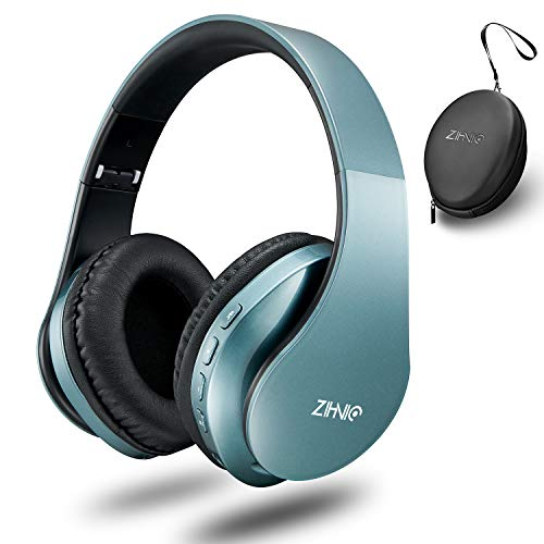 Zihnic Bluetooth headphones over ear,Foldable Wireless and Wired Stereo V5.0 Headset Micro SD/TF, FM for Cell Phone,PC,Soft Earmuffs &Light Weight for Prolonged Waring-Tin