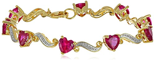 Yellow Gold Flashed Sterling Silver Created Ruby and Diamond Accent Heart Wave Bracelet, 7.25