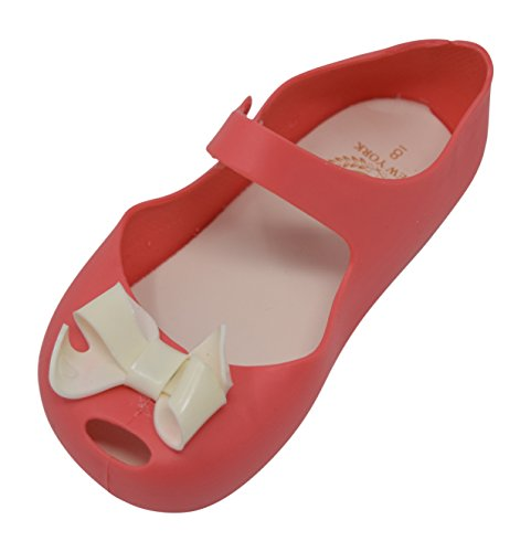 Wedge Peep Toe Flats Shoes (Toddler Girls Peep Toe Bow Flat Mary Jane With Snap Closure (8 M US TODDLER, Watermelon / White Bow))