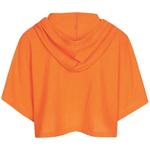 Women's Orange Crop Top Shirt Loose Fit Short Sleeves