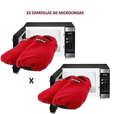 2x Zapatillas para microondas de estar en casa Rojas ®: Amazon.es ...