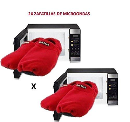 2x Zapatillas para microondas de estar en casa Rojas ...