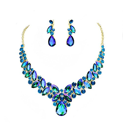 - Blue Ice, Affordable Wedding Jewelry Women Elegant Ab Blue Zircon Crystal Statement Chunky Necklace Jewelry Earrings set