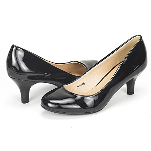 DREAM PAIRS Women's Luvly Black Pat Bridal Wedding Low Heel Pump Shoes - 10 M US