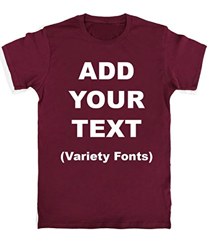 Custom T Shirts Ultra Soft Add Your Text for Men & Women Unisex Cotton T Shirt [Maroon / 2XL]
