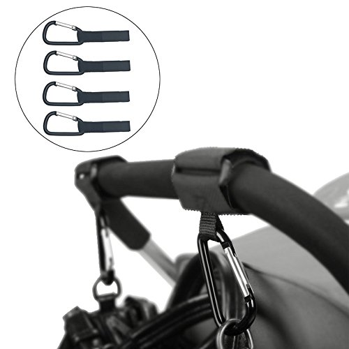 Stroller Hooks - Baby Stroller Accessories Hooks - Hanger for Diaper Bags, Groceries, Clothing, Purse(Pack of 4) by Young Tag