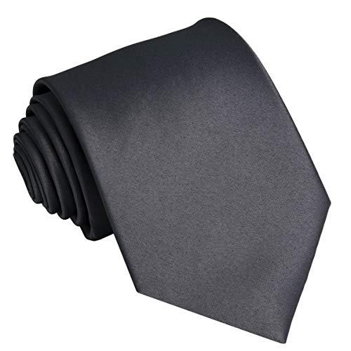 Ties For Men Satin Necktie - Mens Solid Color Neck Tie Wedding Neckties (Grey)