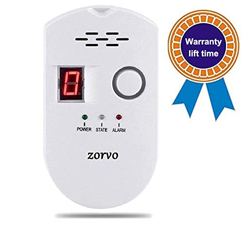 zorvo Propane/Natural Plug-in Digital Gas Detector High Sensitivity LPG/Coal/Natural Gas Leak Detection Alarm Monitor Sensor for Home/Kitchen Gas Alarm Detector Gas Leak Detector