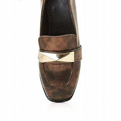 Mee Shoes Damen bequem Niedrig vierkant Pumps Gelb