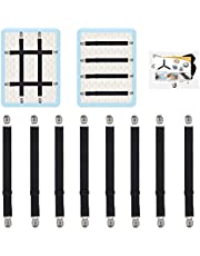 Premium Bed Sheet Fasteners, 8 Pcs Adjustable Crisscross Fitted Sheet Band Straps Grippers Suspenders Corner Holder Elastic Heavy Duty for All Bedsheets Fitted Sheets Flat Sheets Long Type (Black)
