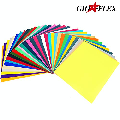 GIOFLEX PU Heat Transfer Vinyl 10quot x 12quot  33 Sheets HTV Assorted Colors Bundle/Variety Pack Adhesive Vinyl IronOn Transfer Heat Press DIY Design for TShirts Easy to Weed