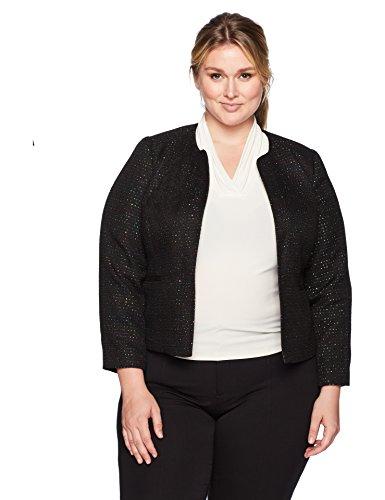 Nine West Women's Plus Size Sequin Tweed Jacket, Black/Multi, 18W