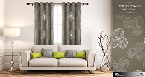 Deconovo Room Darkening Curtains For Kids Goat Willow Leaf Pattern Classy Blackout Curtains 2 Panels Brown Curtains 52 W x 63 L