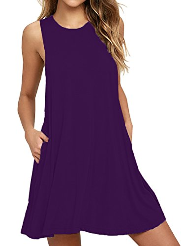 Viishow Women's Summer Sleeveless Mini Dresses with Pocket (M, Purple) (Love A Line Mini Dress With Pockets)
