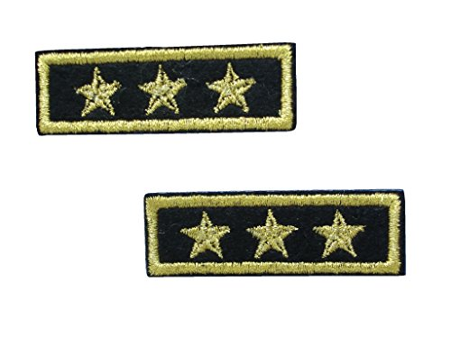 2 pieces 3-STAR GENERAL Iron On Patch Motif Fabric Applique Military Army Rank Decal 2.1 x 0.7 inches (5.3 x 1.8 cm) (General Rank Insignia)