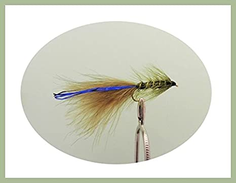 12 pack of Goldhead Olive Blue Flash Damsel Lures Fishing Flies Size 10