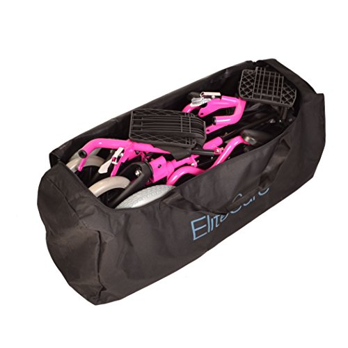 (Deluxe Pink Ultra Lightweight Folding Travel Compact Aluminium Wheelchair in a Bag with handbrakes and Height Adjustable footrests)