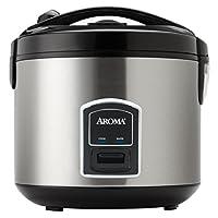 Aroma para el hogar 20 tazas (cocidas) (10 tazas NO COOKED) Cool Touch Rice Cooker y Food Steamer, exterior de acero inoxidable (ARC-900SB)