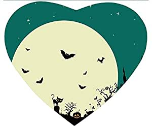 New Hot Comfortable Heart Shaped Mouse Pad - Customizable Printed On Halloween Moon Bats Durable Cool Cheap Game Mouse Pad by runtopwell