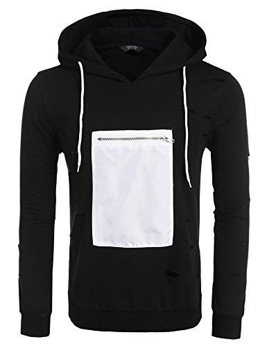 COOFANDY Mens Hip Hop Hoodie Unisex Fashion Pullover Long Sleeve Sweatshirts, Black, X-Large