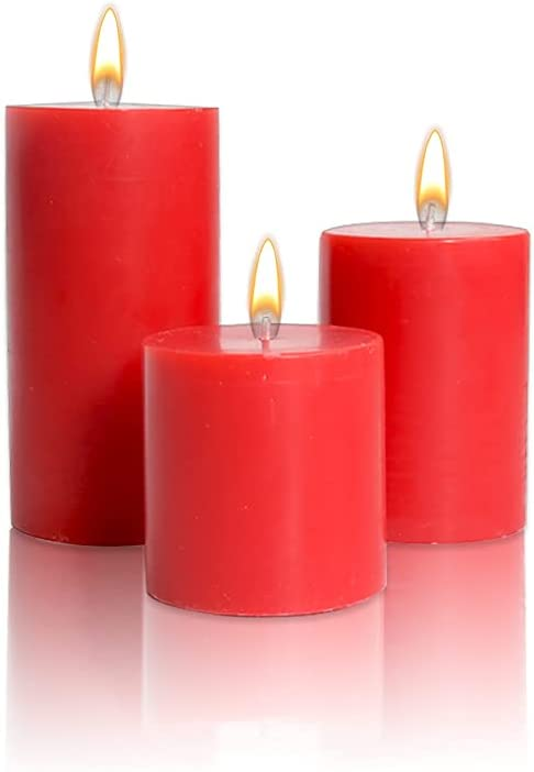 ARIJA Scented Apple Cinnamon Pillar Candle - Handmade Premium Quality Set of 3 Round Pillar Candle for Home décor, Parties, Weddings & Special Occasions - Romantic Red - Size 3x3, 3x4, 3x6