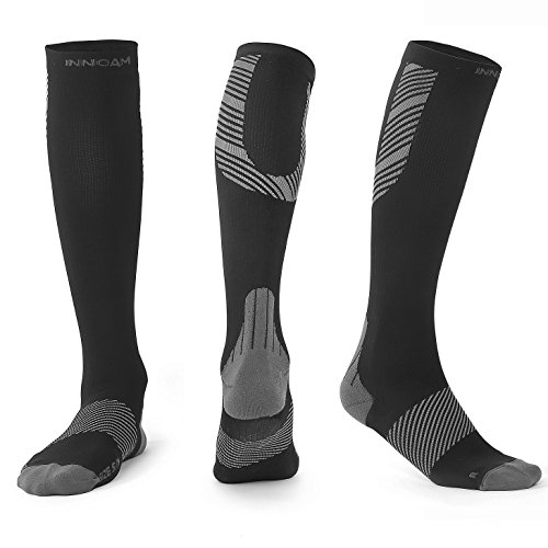 Compression Socks for Men & Women Best Stockings for Nurses, Workout, Running, Medical, Athletic, Edema, Diabetic, Pregnancy, Travel, Varicose Veins, Reduce Swelling, 20-30mmHg (Black Gray, 2XL/3XL) by Innoam (Image #6)