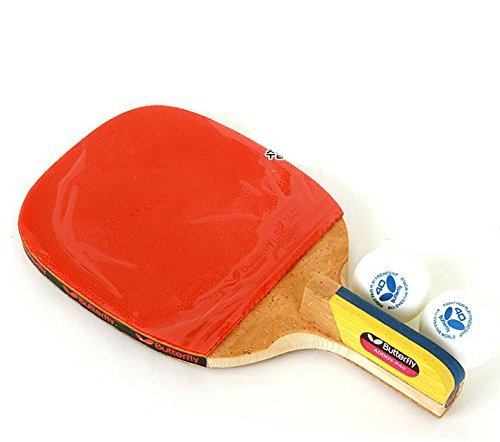 NEW Butterfly ADDOY P40 Table Tennis Racket Penholder Paddle Ping Pong Racket & Ball (Racket Holder)