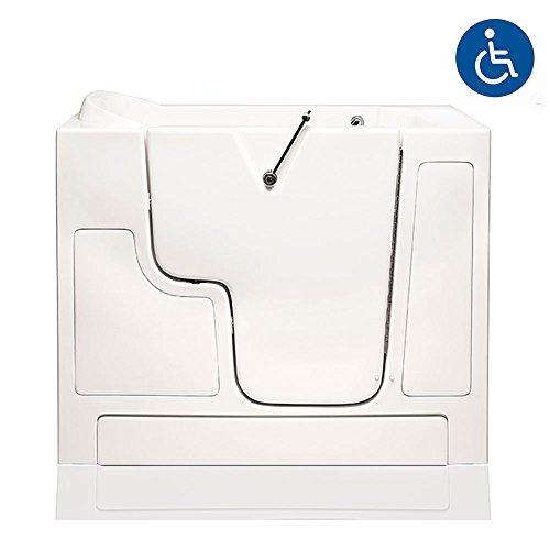 """American Tubs LOVE3052W 30"""" x 52"""" Air Massage Wheelchair Accessible Soaker Walk-in Bathtub - Right Drain (White)"""