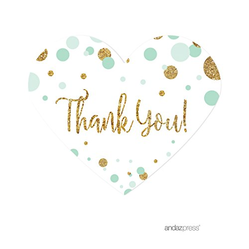 Andaz Press Mint Green Gold Glitter Boy Baby Shower Party Collection, Mini Heart Label Stickers, Thank You, 75-Pack