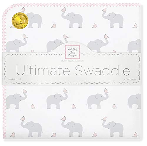 Swaddledesigns Ultimate Blanket Swaddling - SwaddleDesigns Ultimate Swaddle, X-Large Receiving Blanket, Made in USA Premium Cotton Flannel, Elephant and Pastel Pink Chickies (Mom's Choice Award Winner)