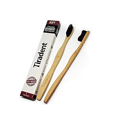 New Bamboo Toothbrush With Charcoal Infused Soft Bristles - Natural Toothbrush - Travel Toothbrush - Eco Friendly, Biodegradable Toothbrush