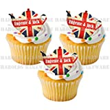 24 x Royal Wedding Princess Eugenie and Jack Brooksbank Stand UP STANDUPS Street Tea Party Celebrations Union Jack UK British Flag Fairy Muffin Cup Cake Toppers Decoration Edible Rice Wafer Paper