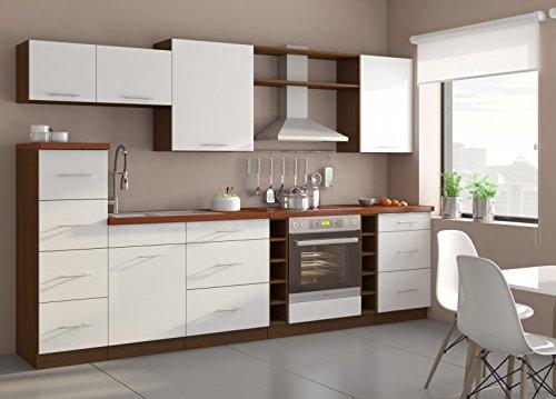 Küche trend 290cm küchenzeile küchenblock variabel stellbar in hochglanz weiss nussbaum amazon de küche haushalt