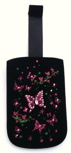Mariposas Emartbuy Pink Diamante Bolsa / Caja / Manga / Soporte (Mediano) Con El Mecanismo De Lengüeta Apto Para Alcatel Ot-282