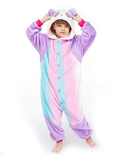 YOLSUN Animal Onesie Pajamas, Kids Cute Animal Costume for Winter (9-10y(suggest51-55), Rainbow Panda) for $<!--$24.99-->