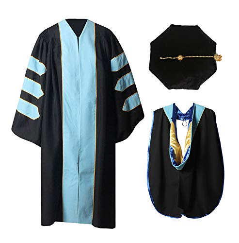 MyGradDay Deluxe Premium Graduation Doctoral Regalia Gown,PHD Hood & 8-Side Tam Package Light Sky Blue