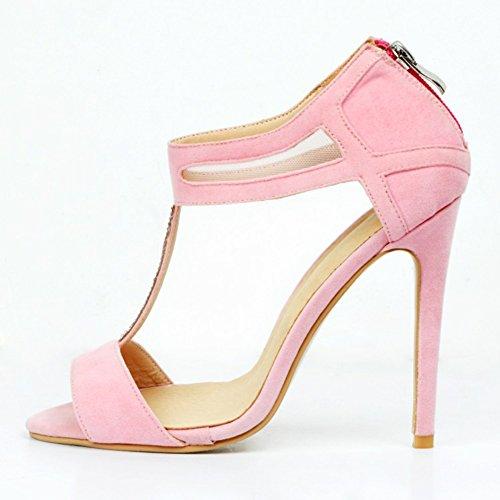 Kolnoo Damen Faschion 100mm T-Bügel Peep-toe Absatz Stilett Partei Schuhe Pink