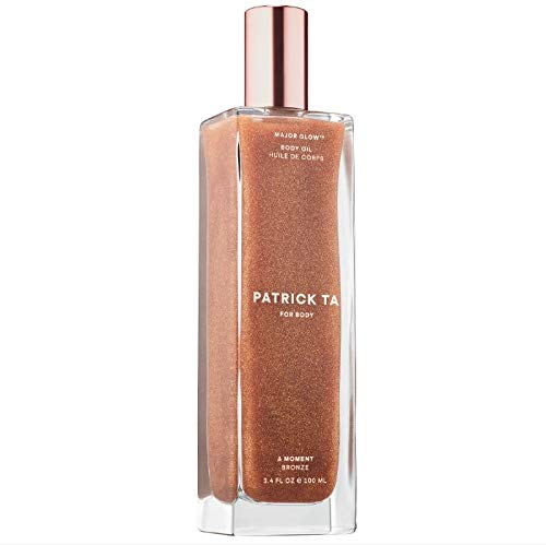 Patrick Ta Major Glow Body Oil 3.4 Fl. Oz! Moisturizing Shimmer Body Oil in Bronze! Blend Of Vitamin C, Vitamin E, Magnolia Bark Extract, Olive Oil and Squalane! Vegan, Cruelty-Free And Gluten-Free!