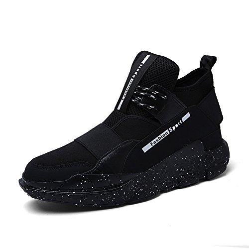 WZG bota zapatos de los nuevos hombres, zapatos de hombre casual alto estado de baloncesto hip-hop zapatos de hombre zapatos de deporte amortiguación Black