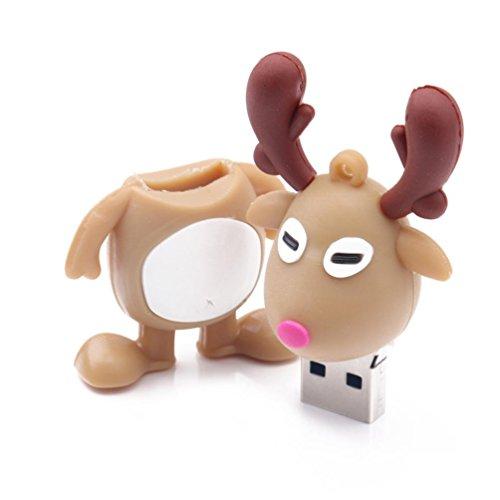 Price comparison product image Dreamyth Christmas 16G U Disk Christmas Elk Flash Memory Stick Storage Thumb U Disk,Slim Gift (Brown)