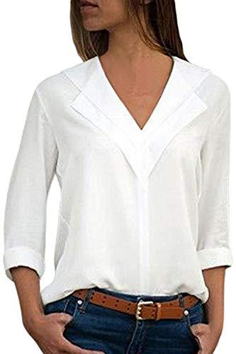 Manches en Casual Femmes De Longues Cou Taille Blanc Haut Solide V Blouses Plus Soie La Mousseline W858wHdBqr