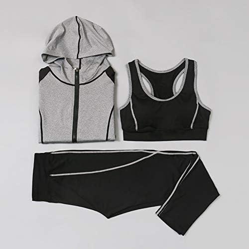 XIAMIMI High Waist Dreiteiliger Yoga Set Sportkleidung für Frauen Sport-BH Fitness Kleidung Frauen Shorts Gymnastik-Training Crop Top Frauen,B,L