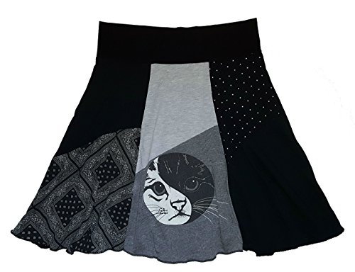 Yin Yang T-Shirt Skirt Women's Size L XL Handmade Upcycled One of a Kind Item by Twinklewear