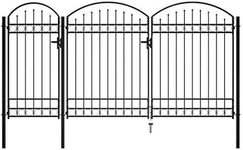 vidaXL Puerta de Valla de Jardín con Arco Superior Casa Piscina Huerto Cancela Pórtico Portillo Portón Entrada Salida Bricolaje 2,5x4 m Acero Negro: Amazon.es: Bricolaje y herramientas