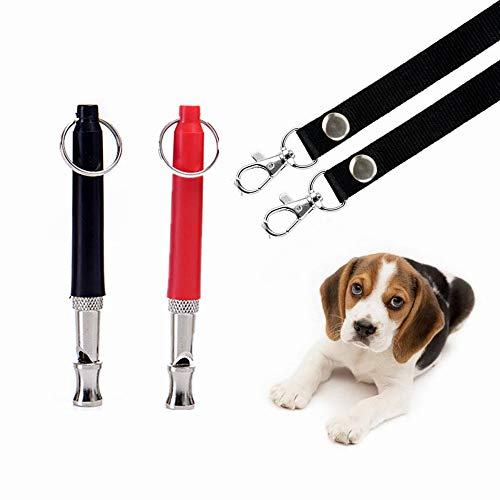 THINKPRICE 2 Pack Dog Whistle to Stop Barking - Barking Control Adjustable Frequency Ultrasonic Sound Training Tool- Adjustable Pitch-Free Premium Lanyard Strap &EBOOK Training Guide