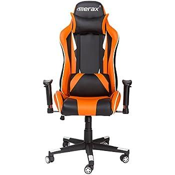 Merax Racing Style Gaming Chair Adjustable Swivel Office Chair (Black/Orange/White)