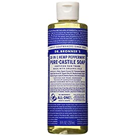 Dr. Bronner's Pure-Castile Liquid Soap - Peppermint, 8 Oz 88 PEPPERMINT. Our most popular scent - with a peppermint burst so pure it tingles! Scented with organic peppermint oil to cool skin, clear sinuses and sharpen mind. Our Peppermint Pure-Castile Liquid Soap is concentrated, biodegradable, versatile and effective SMOOTH AND MOISTURIZING. Dr. Bronner's Liquid Pure-Castile Soap offers organic and vegan ingredients for a rich, emollient lather and a moisturizing after feel. It uses organic hemp, olive, and coconut oil to nourish your clean, healthy skin NATURAL. Smooth and luxurious soap with no synthetic detergents or preservatives, as none of the ingredients or organisms from which they are derived are genetically modified. Use on your hands, face, or hair, or dilute your soap for a multi-use cleaning product