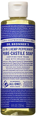 Dr. Bronner's Pure-Castile Liquid Soap - Peppermint, 8 Oz 1 PEPPERMINT. Our most popular scent - with a peppermint burst so pure it tingles! Scented with organic peppermint oil to cool skin, clear sinuses and sharpen mind. Our Peppermint Pure-Castile Liquid Soap is concentrated, biodegradable, versatile and effective SMOOTH AND MOISTURIZING. Dr. Bronner's Liquid Pure-Castile Soap offers organic and vegan ingredients for a rich, emollient lather and a moisturizing after feel. It uses organic hemp, olive, and coconut oil to nourish your clean, healthy skin NATURAL. Smooth and luxurious soap with no synthetic detergents or preservatives, as none of the ingredients or organisms from which they are derived are genetically modified. Use on your hands, face, or hair, or dilute your soap for a multi-use cleaning product