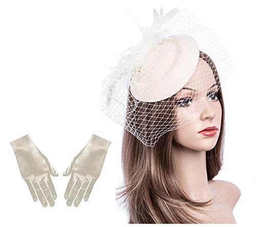 (Fascinators Hats 20s 50s Hat Pillbox Hat Cocktail Tea Party Headwear with Veil for Girls and Women(B-Beige)