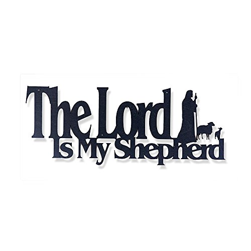 (Inspirational Word Art, Christian Faith Biblical Verse Wall Sign, Hand-Made Wooden Decoration Plaque for Home, Office, Church - Real Wood - Made in The USA - (The Lord is My Shepherd))